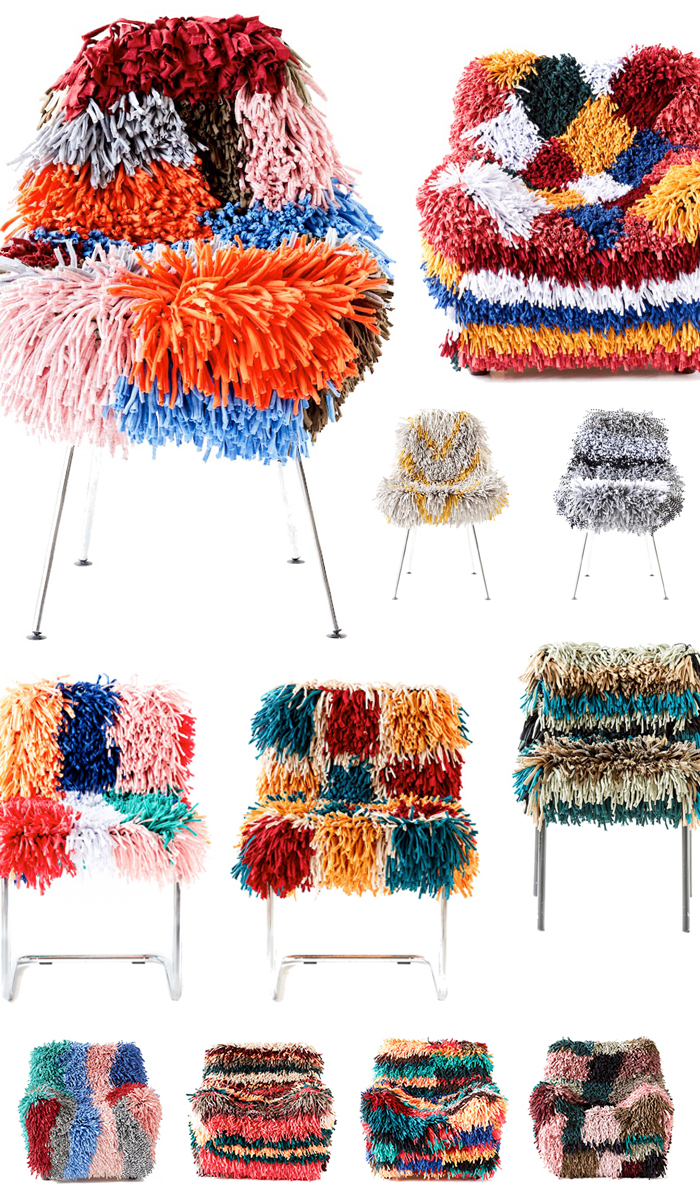 RAGAMUF chair rugs are brilliant on so many levels. Designed in Finland, they are stretchy, super shaggy covers that will fit over and transform most chairs and arm chairs.