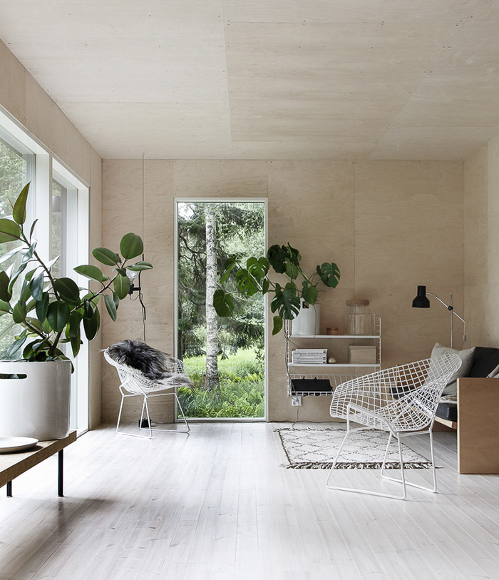 Scandinavian summer house with birch plywood interior