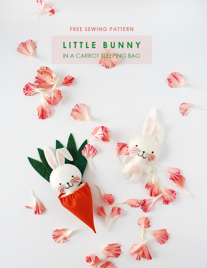 Free sewing pattern: little Easter bunny softie in a carrot sleeping ...