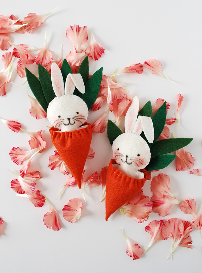 Easter craft idea - mini bunny softie in a carrot sleeping bag