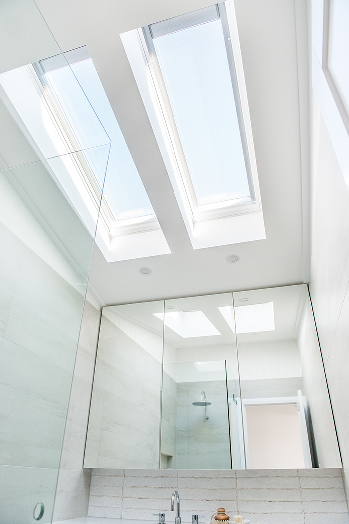 High ceilings and skylights.