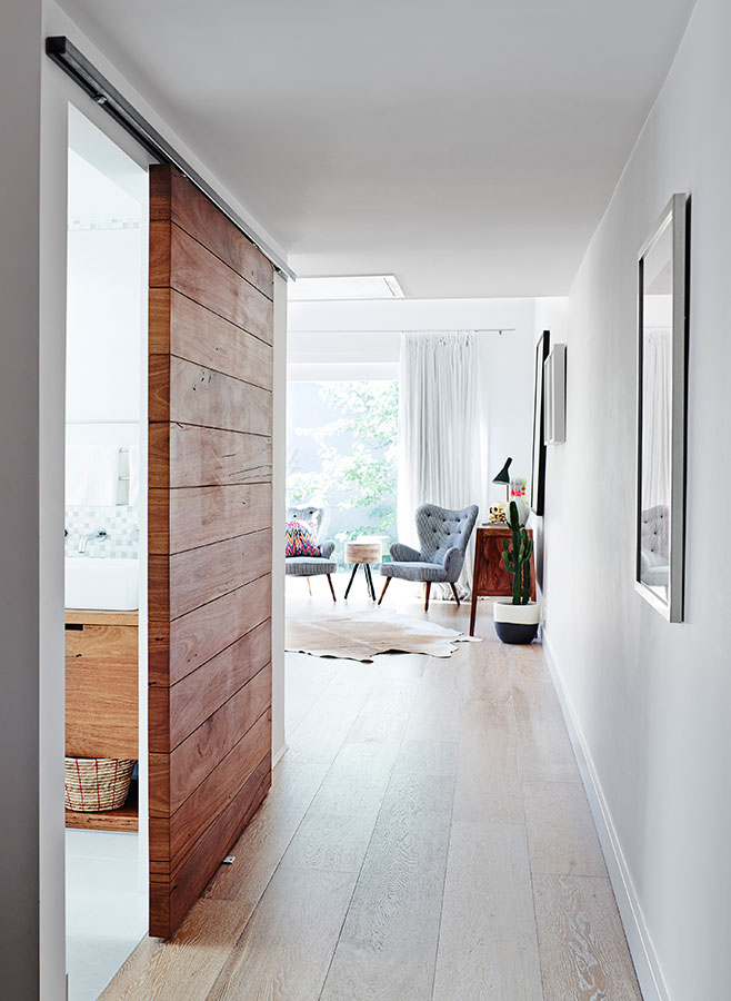 Wood interiors: love this sliding door