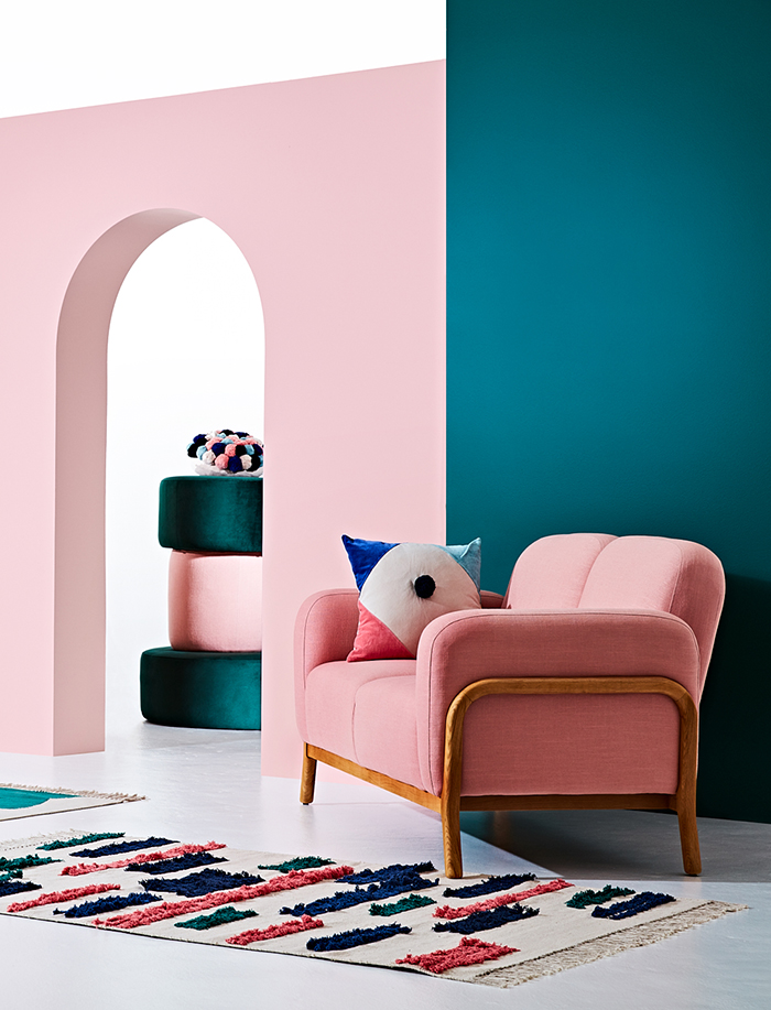 blush velvet sofa - Arro Home