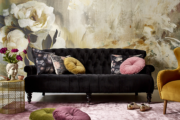 Love this velvet sofa and plush rug