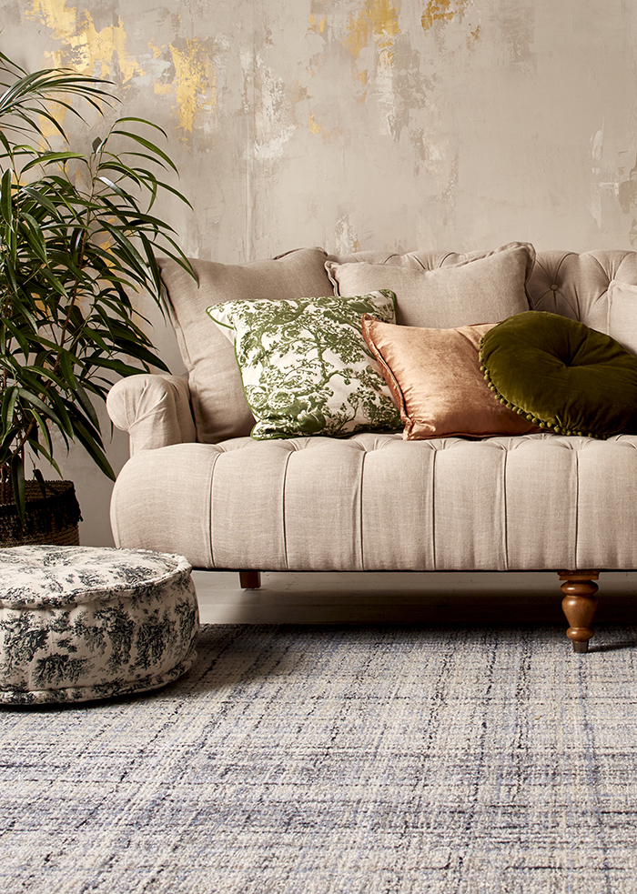 Blush sofa + lovely rug