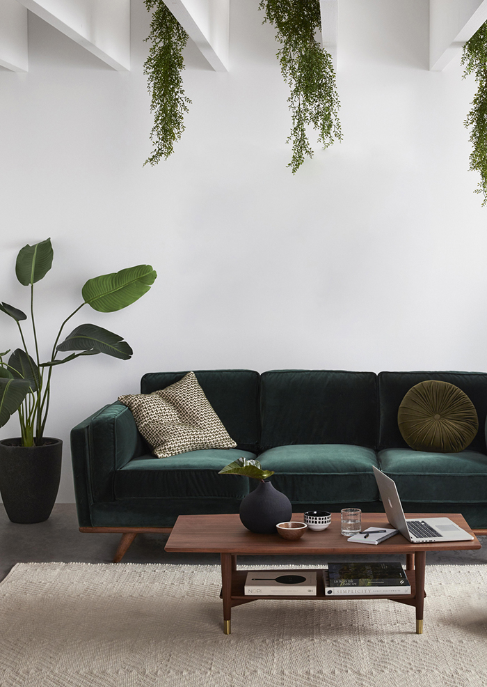Green velvet sofa goals!