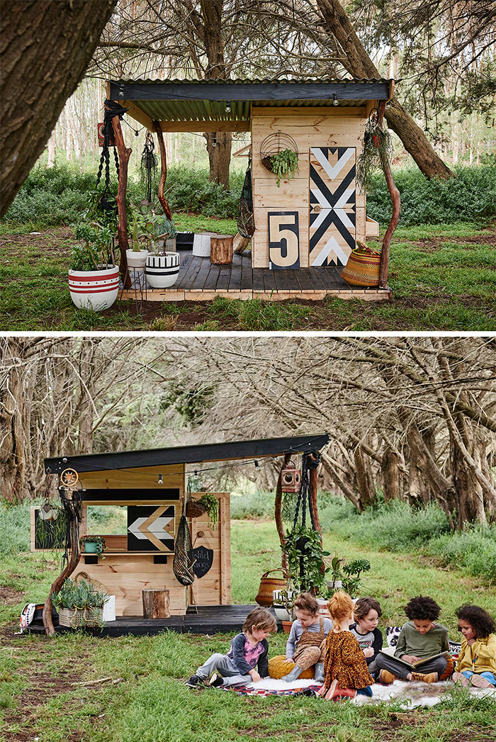 Designer wooden cubby house