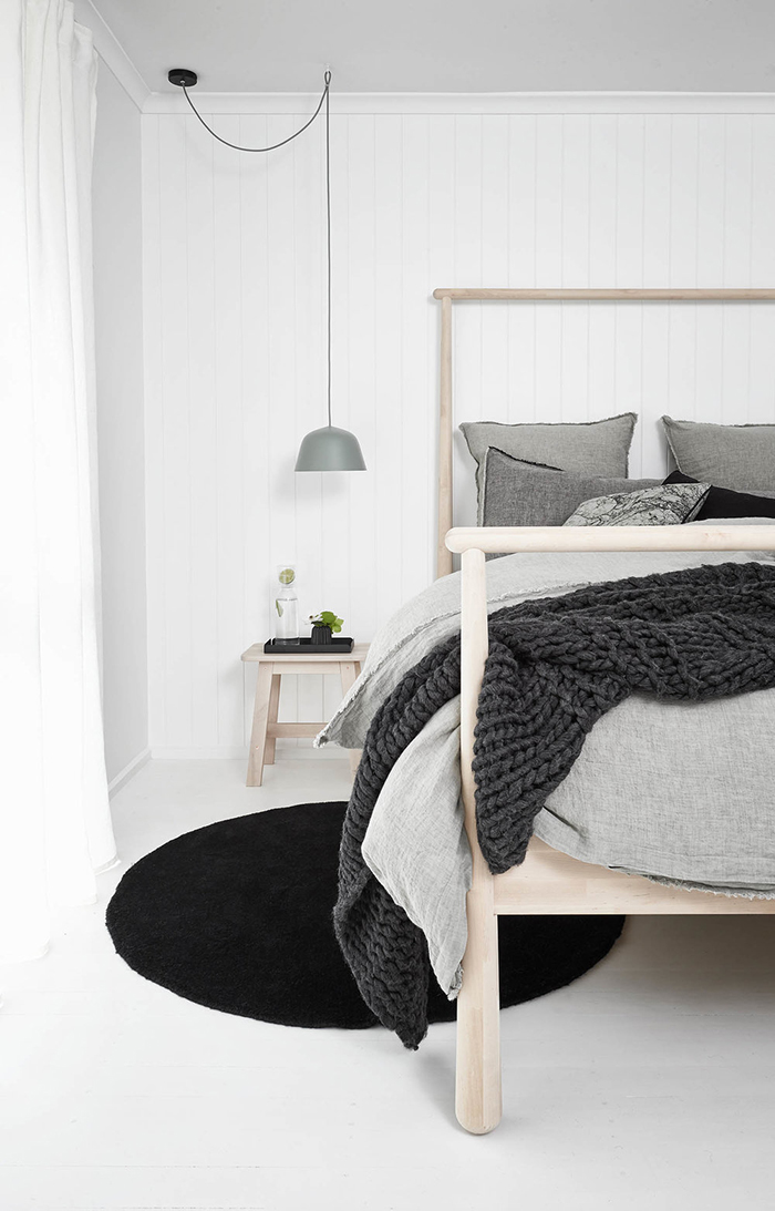 a monochromatic Scandi style holiday home