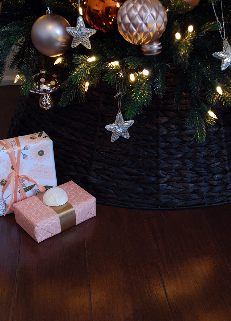 Christmas tree decorations on copper, gold, silver and blush