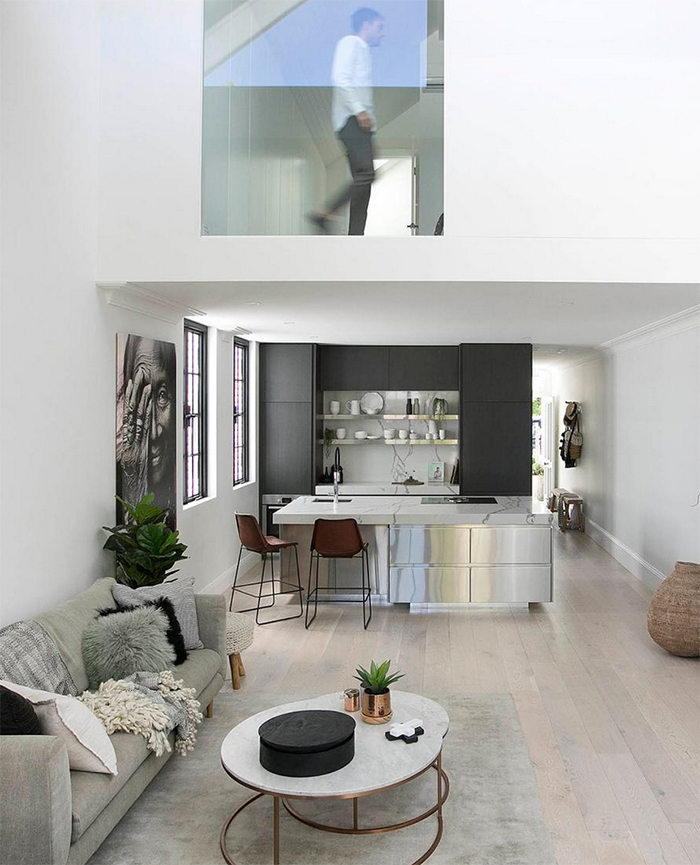 Living area of a contemporary light filled home in Sydney's Balmain