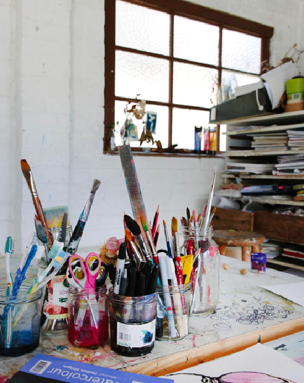 the studio of sydney based artist Fiona Chndler