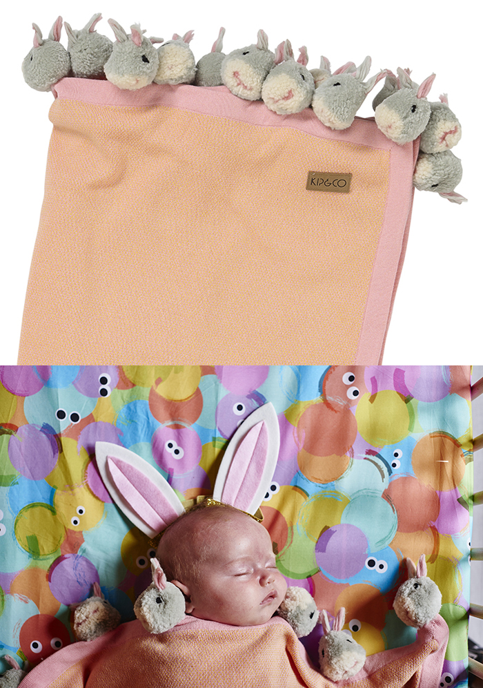 Kip & Co Easter blanket with bunny pom poms!