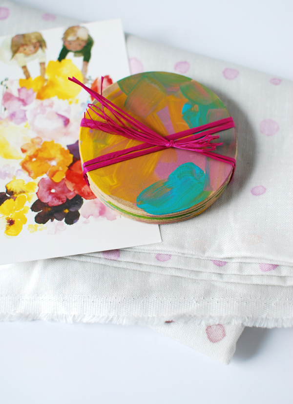 painted coasters wrapped - Mothers Day Crafts For Kindergarten